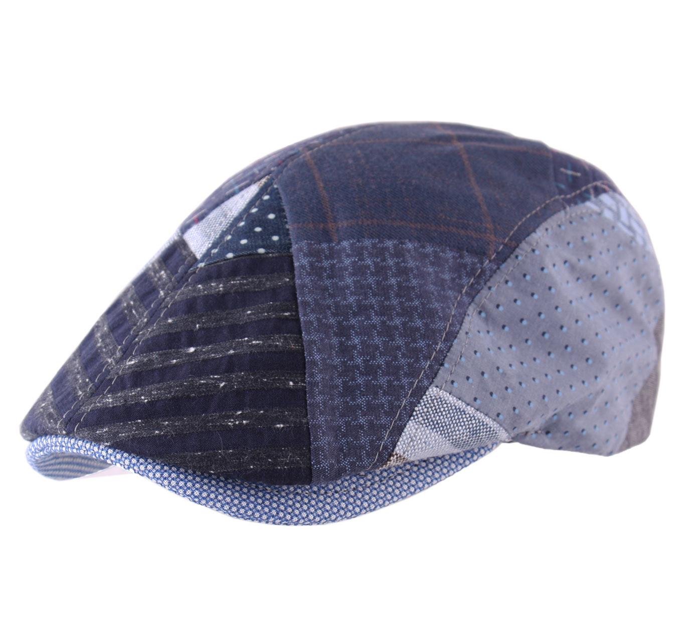 b ret casquette plate homme ou femme classic cap patchwork bleu ebay. Black Bedroom Furniture Sets. Home Design Ideas